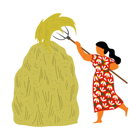 A woman from the village piles a fork in a hay stack on a white background. Cute flat isolated vector illustration Çizim