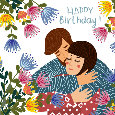 Happy birthday. Man kisses and congratulates a woman, Couple in love with flowers on a white background. Flat cute design vector illustration.
