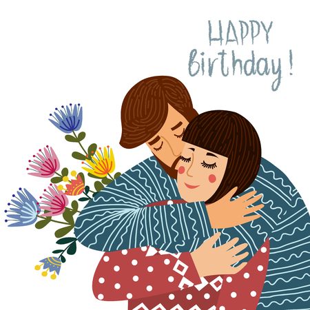 Happy birthday. Man kisses and congratulates a woman, Couple in love with text on a white background. Flat cute design vector illustration.