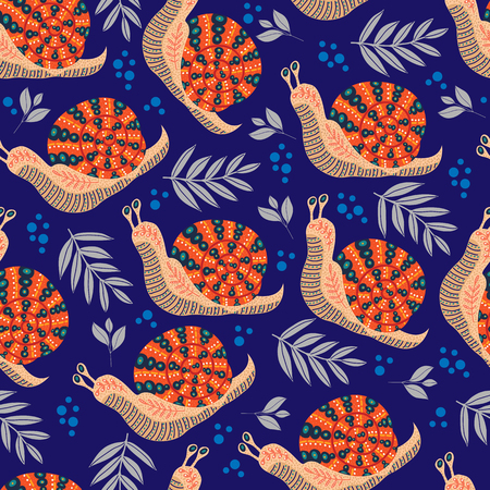 Vector cute seamless pattern with folk snail and leaves on dark background.