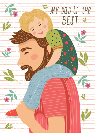 Hand-drawn drawing of dad and the child sitting on his shoulders on a white background with flowers and leaves