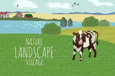 Dessin à main levée d'une journée d'été dans le village. Illustration vectorielle mignonne d'un paysage rural avec vache, arbres, lac et herbe. Vecteurs