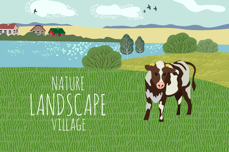 Freehand drawing of a summer day in the village. Cute vector illustration of a rural landscape with cow, trees, lake and grass.