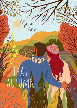 Young couple meets new autumn day. Sunrise, hills,trees, falling leaves, flying birds, natural landscape in a trendy flat cute style. Vector 向量圖像