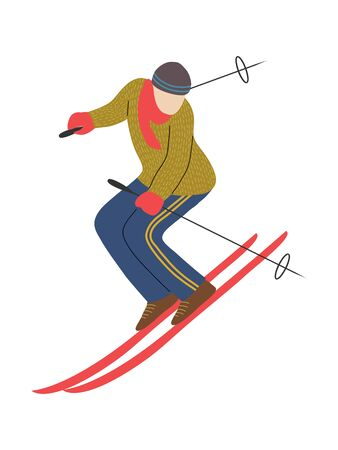 Skier isolated on white background. Man skiing.Flat cartoon cute style design. Athlete on the downhill. Freehand Vector