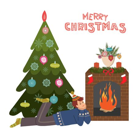A boy lies in front of a fireplace by the fire against the background of a Christmas tree. Cute cartoon flat vector illustration isolated on white background. Banque d'images - 131494056