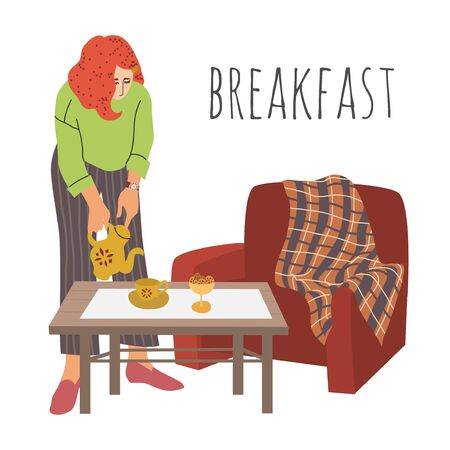 Breakfast. The lady pours tea into cup. The girl sets the table in a comfortable room. Interior with a coffee table and an armchair with a blanket over it. Hand-draw vector flat cartoon illustration on a white