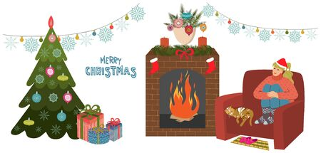 The girl is sitting in a large comfortable chair, legs crossed by the fireplace near christmas tree with gifts. Cat is sleeping next to her. Vector illustration isolated on white background.