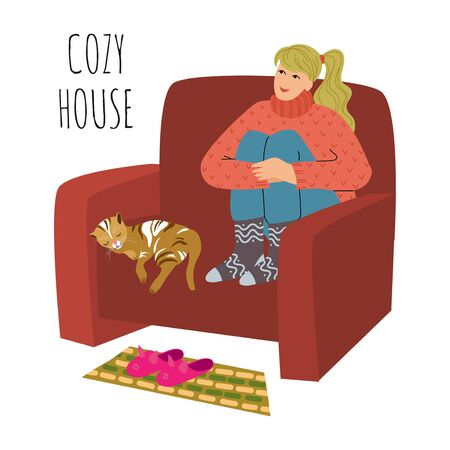 Cozy house. The girl is sitting in a large comfortable chair, legs crossed. Cat is sleeping next to her. Cute flat vector illustration isolated on white background. Drawn by hand