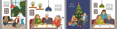 Set of Cute vector illustrations of people in a nursing home. Happy elderly women spending leisure time together celebrating holidays and receiving medical care and care.  イラスト・ベクター素材