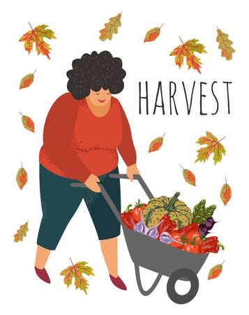 Harvesting. A woman carries various vegetables grown in her garden in a wheelbarrow. Hand-drawn flat cartoon vector illustration isolated on white Stock Illustratie