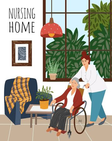 Nursing home. A nurse is pushing a wheelchair with an elderly disabled woman against an interior background with furniture, flowers and a window. Vector flat hand-drawn cartoon illustration. Иллюстрация