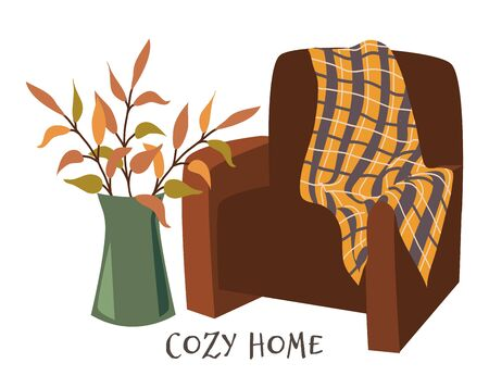 Cozy home. Armchair with plaid and branches in vase hand drawn flat vector illustration on white. Image for design posters and banners Standard-Bild - 131494066
