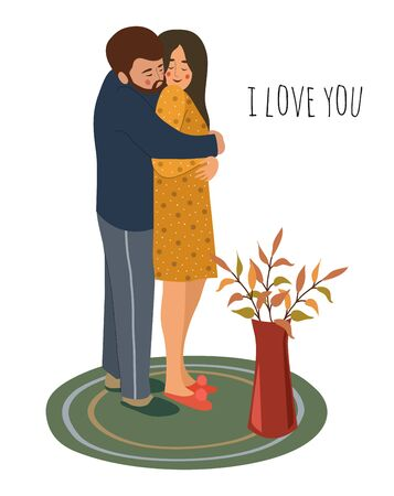 I love you. Hugging young couple in love. Isolated hand-drawn vector illustration for design of cards or banners for Valentine s Day Çizim