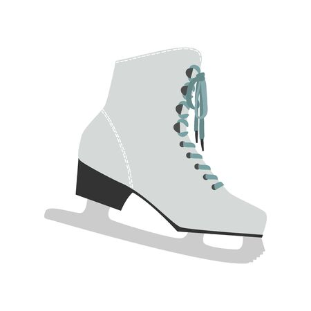Vector white figure skates, vintage ice rink equipment footwear. Isolated christmas and new year holiday decoration symbol on flat Иллюстрация
