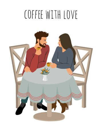 Young girl and a guy are drinking hot coffee in a cafe. Cute isolated vector illustration of a couple in love sitting at the table and talking. Иллюстрация