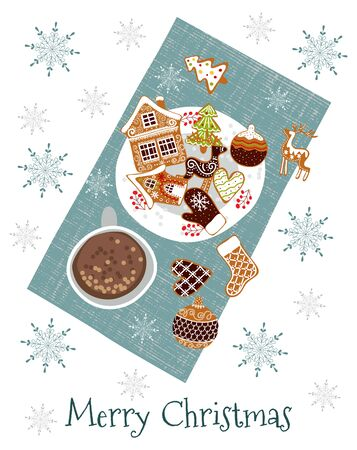 Merry christmas . Cute vector illustration of a napkin with a cup of cocoa and gingerbread . Freehand drawing, Top view Illustration