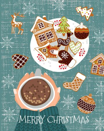 Cozy christmas background. Cute vector illustration of a table with a cup of cocoa and gingerbread cookies.Top view of hands with tea