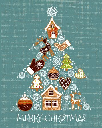Merry christmas. Cute vector illustration of a christmas tree shaped gingerbread and snowflakes. Freehand drawing