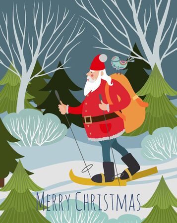 Merry Christmas and Happy New Year, Santa Claus with a gifts in a backpack in the forest by ski on the nature in winter. Vector cute holiday illustration for background, card or poster.