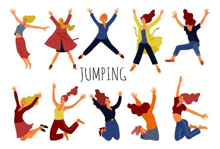Group of young happy jumping womans isolated on white. Smiling females with raised hands and positive emotions. Vector illustration in flat hand draw cartoon style.