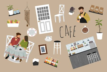 Bundle of isolated objects on the theme of a coffee shop: couple drinking coffee at a table, barista preparing a drink, furniture, dishes. Cute vector hand-drawn illustration Иллюстрация