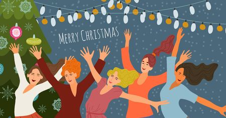 Merry christmas and happy new year. Cheerful smiling jumping girls at a corporate party on the background of festive garlands and christmas tree. Cute hand-drawn vector for cards and posters Ilustracja