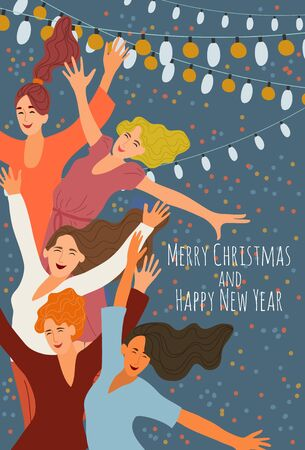 Merry christmas and happy new year. Cheerful smiling jumping girls at a corporate party on the background of festive garlands. Cute hand-drawn vector illustration for cards and posters