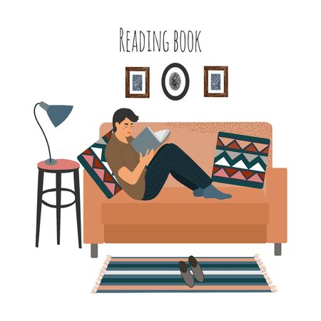 Reading guy at home on sofa. Man sitting on couch with interesting book. Vector flat illustration isolated on white background. Illusztráció