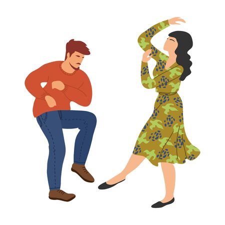 Isolated dancing people. Couple in the dance. Cute vector hand draw illistration on white background Stock Illustratie