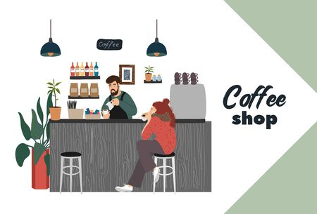 Coffee shop with visitor, young girl sits at a bar counter, barista makes a hot drink. Modern flat vector concept illustration for small business Banque d'images - 131494112
