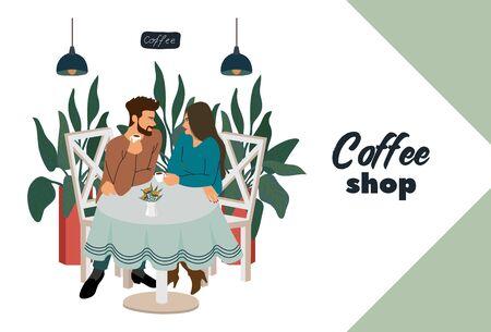 Caffetteria con visitatori, giovane coppia seduta al tavolo. Illustrazione di concetto di vettore piatto moderno per le piccole imprese