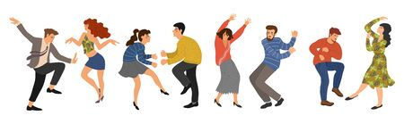 Group of young happy dancing people isolated on white background. Men and women in the dance. Vector illustration flat design.