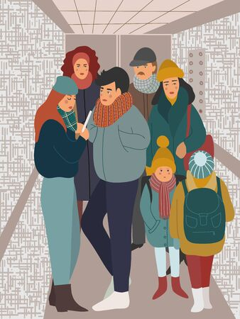 A lot of people ride in the elevator. Men, women and children in a closed cabin. Vector flat hand-drawn illustration.