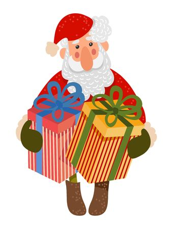 Santa Claus with big boxes of gifts. Isolated Cute Vector Cartoon Illustration on white