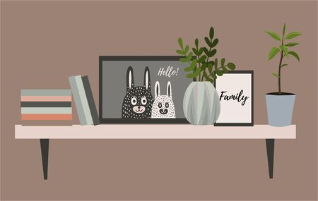 Wall shelf for a Scandinavian-style living room interior with flower pots, books and paintings. Vector flat illustration.