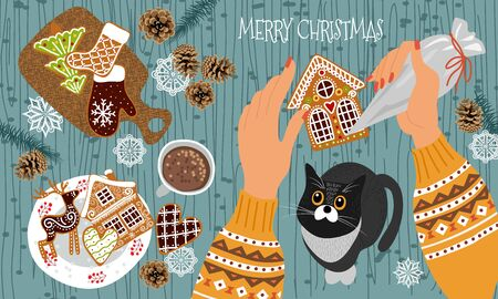 Preparing for Christmas and New Year. Cute flat vector illustration - hands with a pastry bag decorate gingerbread cookies with icing and cat watching the process.