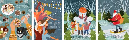 Set of vector christmas cards with gingerbread cookies, children making a snowman, dancing people and santa claus skiing in the forest . Cute flat hand draw Иллюстрация