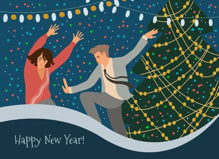 People dancing at the Christmas tree at a corporate party. Greeting card with a man and woman celebrating New Year. Cute vector flat illustration.
