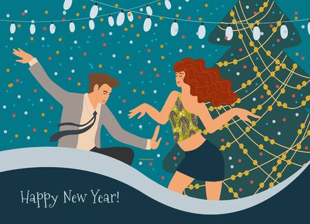 People dancing at the Christmas tree at a corporate party. Greeting card with a couple celebrating New Year. Cute vector flat illustration. Иллюстрация