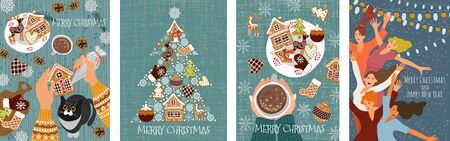 Set of vector christmas cards with gingerbread cookies, , dancing people and hands with pastry bag decorating pastries. Cute flat hand draw illustration
