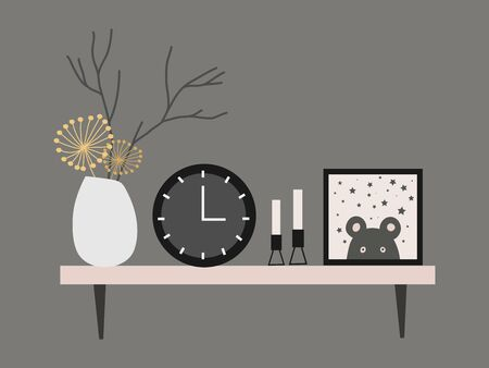 Wall shelf for a Scandinavian-style living room interior with dried flower vase, clock, candles and paintings. Vector flat illustration.