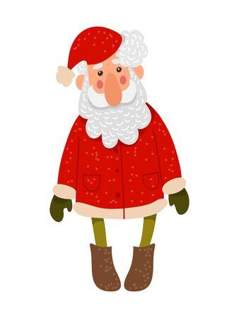 Santa Claus. Isolated Cute Vector Cartoon Illustration on white