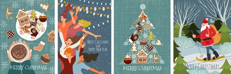 Bundle of vector christmas cards with gingerbread cookies, dancing people and santa claus skiing in the forest . Cute flat hand draw Иллюстрация