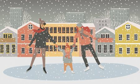Family at the rink on the background of houses. Father, mother and child are skating and it is snowing. Flat cartoon vector hand-drawn illustration isolated on white