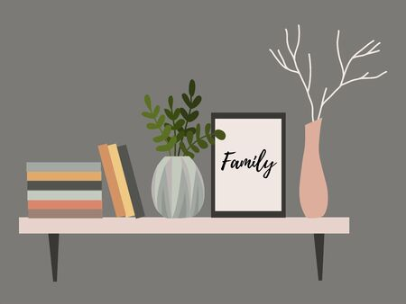 Wall shelf for a Scandinavian-style living room interior with flower pots, vase with a branch, books and paintings. Vector Illustratie