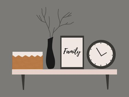 Wall shelf for a Scandinavian-style living room interior with branch in vase, clock, basket and paintings.