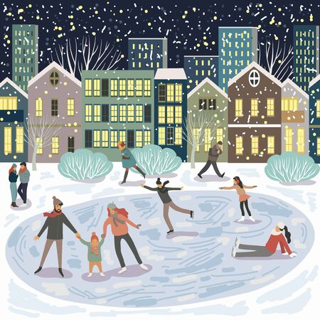People at the rink, a family on skates against the background of evening city houses. Winter vector Иллюстрация