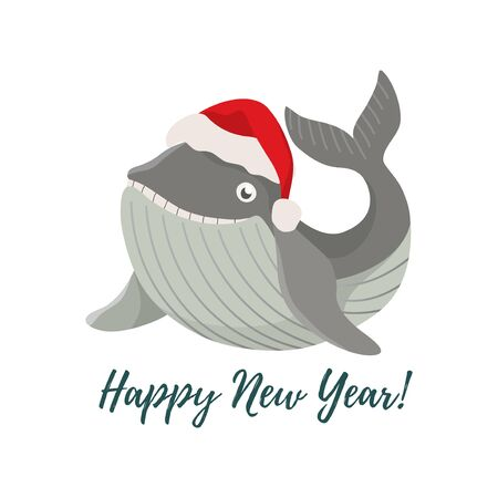 Merry Christmas and Happy New Year. Isolated smiling cartoon whale in a red Christmas hat. Cute vector Иллюстрация