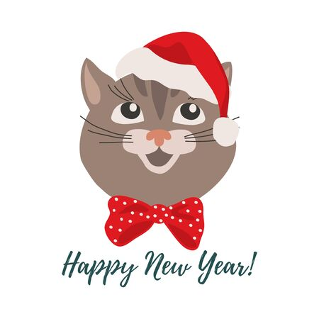 Merry Christmas and Happy New Year. Isolated smiling cartoon face of cat in a red Christmas hat. Cute vector